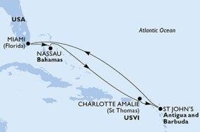 MSC Karibik Kreuzfahrt Route